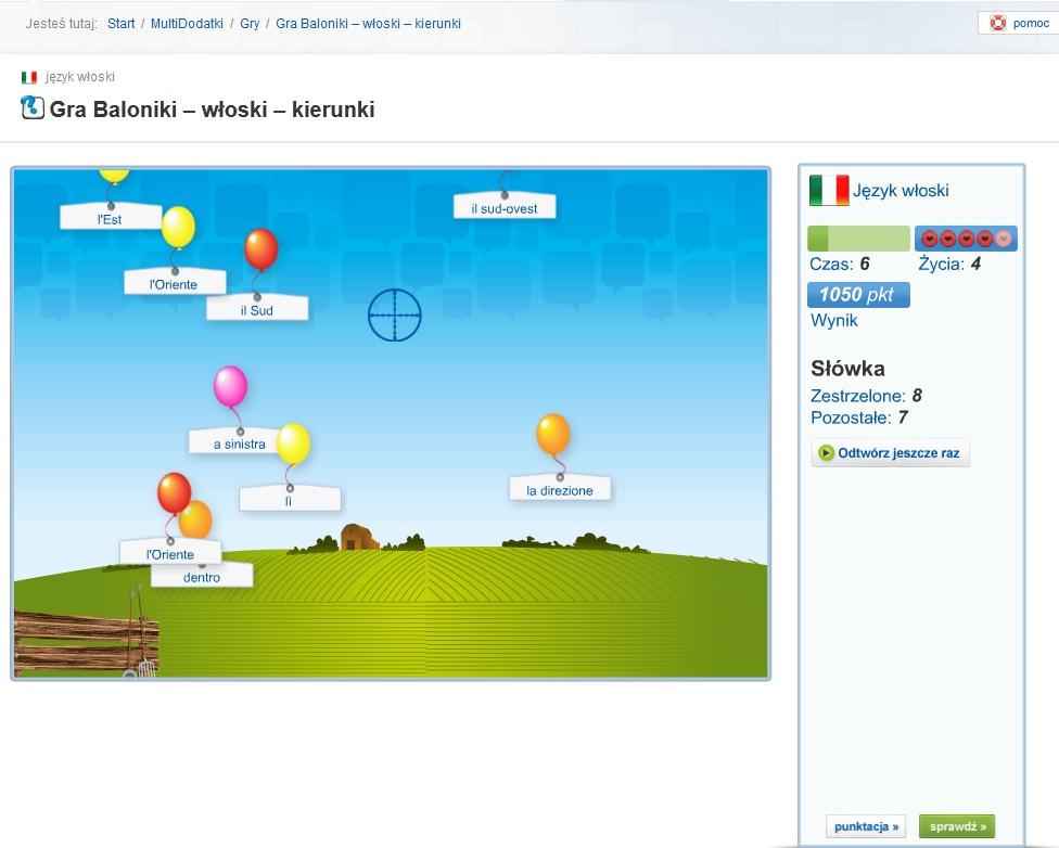 multisłówka - włoskie słówka gra baloniki