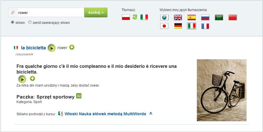 multisłówka - włoski słówka tłumacz